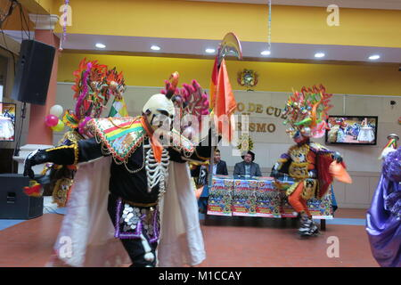 La Paz, Bolivia. 28th Dec, 2017. A view of the traditional carnivalesque deviled dance at the Culture and Tourism - Stock Photo