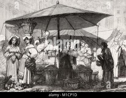 Market at the Piazza Navona,, Rome, Italy, 19th Century - Stock Photo