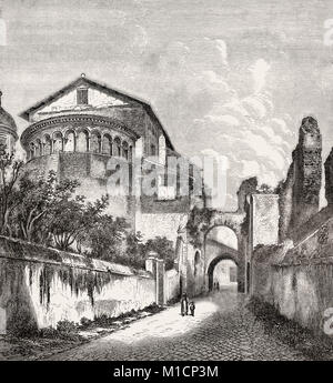 The Basilica of Saints John and Paul on the Caelian Hill, Rome, Italy, 19th Century - Stock Photo