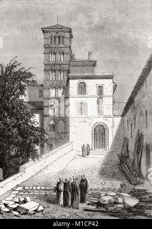 The Basilica of Saints John and Paul on the Caelian Hill, Rome, Italy, 19th Century - Stock Photo