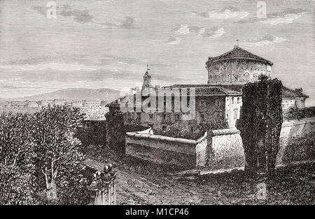 The Basilica of St. Stephen in the Round, Celian Hill Rome, Italy, 19th Century - Stock Photo
