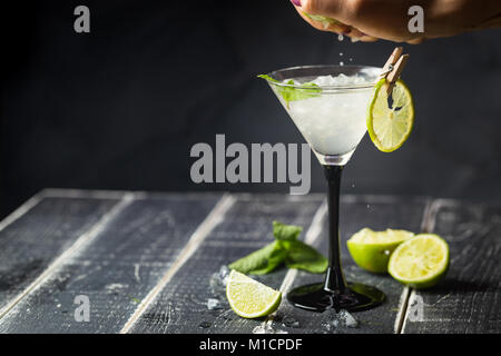 Fresh classic lime margarita cocktail - Stock Photo