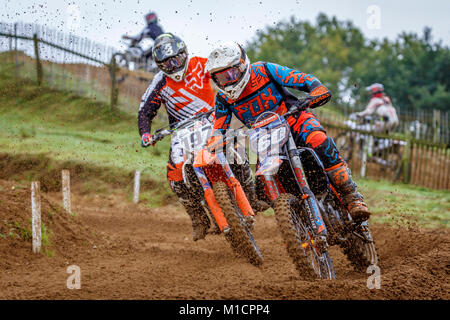 Aaron Framingham on the Fabrican Engineering KTM 250 at the NGR & ACU Eastern EVO Solo Motocross Championships, - Stock Photo
