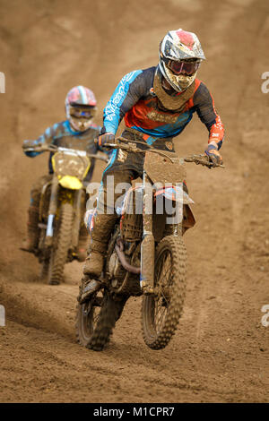 Harry Clark on the Jim Aim KTM 250 at the NGR & ACU Eastern EVO Solo Motocross Championships, Cadders Hill, Lyng, - Stock Photo