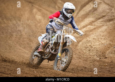 Edward Pegram on the Husqvarna 350 at the NGR & ACU Eastern EVO Solo Motocross Championships, Cadders Hill, Lyng, - Stock Photo