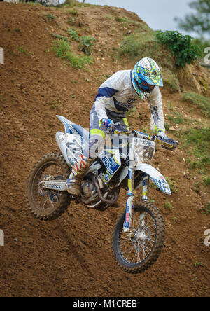 Benjamin Alexander on the Lings Husqvarna 350 at the NGR & ACU Eastern EVO Motocross Championships, Cadders Hill, - Stock Photo
