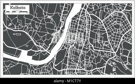 Kolkata India City Map in Retro Style. Outline Map. Vector Illustration. - Stock Photo