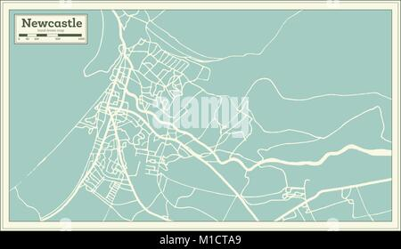 Newcastle England City Map in Retro Style. Outline Map. Vector Illustration. - Stock Photo