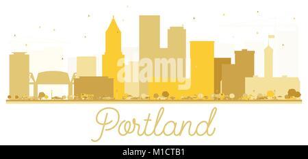 Portland Oregon USA City skyline golden silhouette. Vector illustration. Simple flat concept for tourism presentation, - Stock Photo