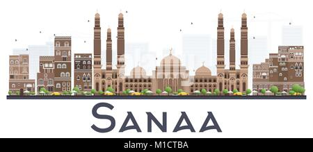 Sanaa Yemen City Skyline with Color Buildings Isolated on White Background. Vector Illustration. Business Travel - Stock Photo