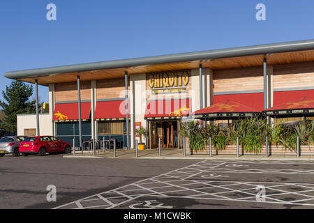 Frontage of Chiquito, a UK based restaurant chain specialising in Tex-Mex food; Sixfield Leisure, Northampton, UK - Stock Photo