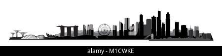Singapore city, Singapore. Urban skyline with landmarks and skyscraper buildings silhouette. Travel Asia symbol. - Stock Photo