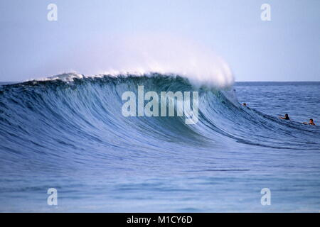 side view of perfect tubing wave  Pipeline Hawaii USA - Stock Photo