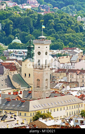 Lviv City Hall (1830-1845) tower (65m height) situated at Market (Rynok) Square - Stock Photo