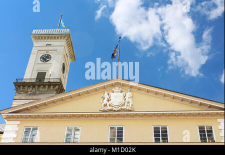 Lviv City Hall (1830-1845) tower (65m height) situated at Market (Rynok) Square. Rynok Square in Lviv is a central - Stock Photo