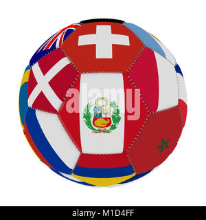 Soccer ball with the color of the flags of the countries participating in the world on football, in the middle Peru, - Stock Photo