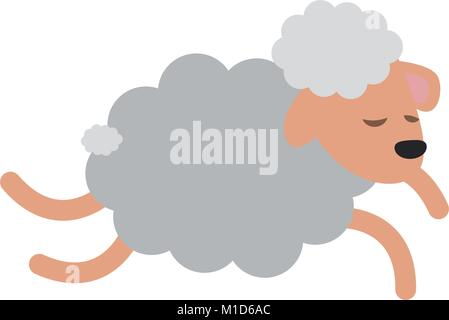Sheep jumping cartoon - Stock Photo