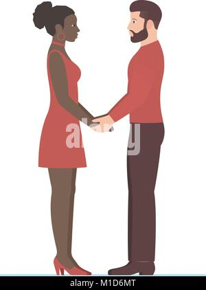 Bearded white man and beautiful afro American woman. Happy multiracial couple in love, holding hands, looking into - Stock Photo