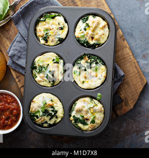 High protein egg muffins with kale - Stock Photo