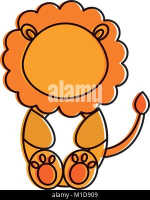 cute and tender lion character - Stock Photo