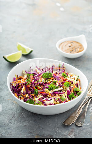 Asian cole slaw with peanut butter dressing - Stock Photo