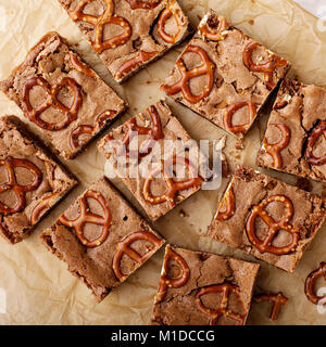 Homemade brownies with pretzels - Stock Photo