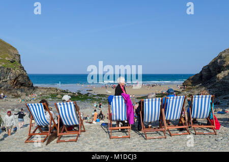 summer at chapel porth beach near st.agnes in cornwall, england, britain, uk. - Stock Photo