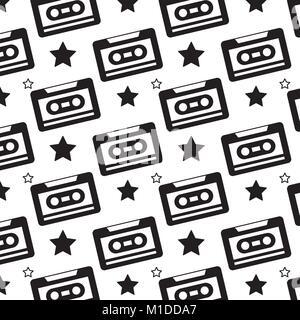 seamless pattern retro cassette tape recorder - Stock Photo
