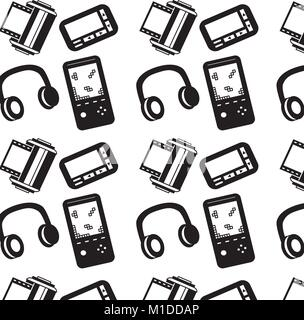 seamless pattern retro vintage video game headphones pager roll photo - Stock Photo