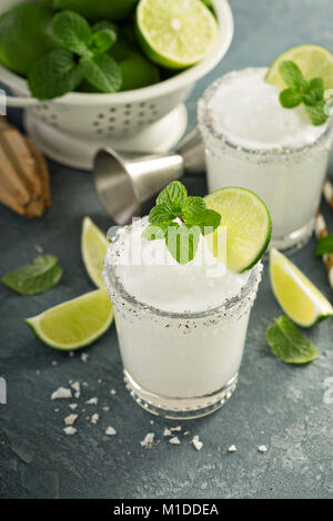 Frozen lime and mint margarita - Stock Photo