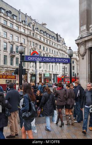 Oxford Circus tube station, London, United Kingdom, UK - Stock Photo