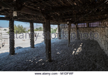 Inside a ancient Houses at Hatta Heritage Village. We can see the structure done with palm trees. Dubai Emirates, - Stock Photo