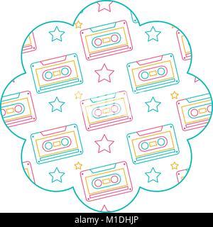 flower pattern shape label with cassettes recorder tape vector illustration color line design - Stock Photo