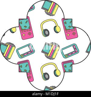 label vintage retro video game and headphones vector illustration - Stock Photo