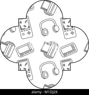 label vintage retro video game and headphones vector illustration outline design - Stock Photo
