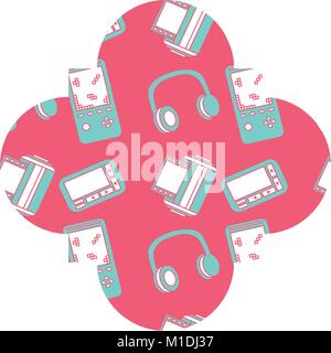 label vintage retro video game and headphones vector illustration pink background - Stock Photo