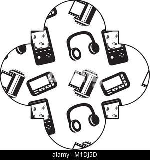 label vintage retro video game and headphones vector illustration black image - Stock Photo
