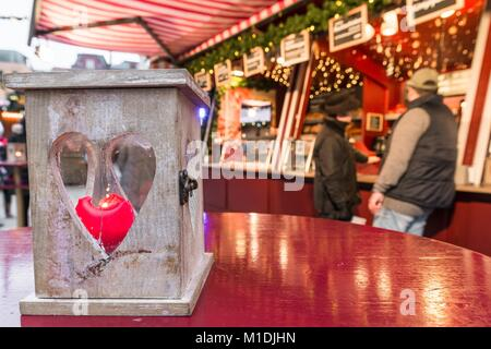 Heart shaped lantern on Christmas market in Regensburg, Germany - Stock Photo