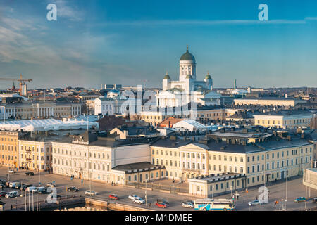 Helsinki, Finland. Aerial View Street With Presidential Palace And Helsinki Cathedral In Winter Day. View From Height - Stock Photo