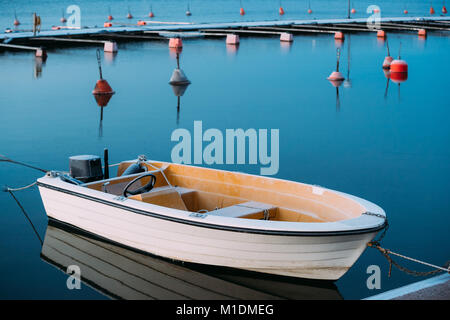 Helsinki, Finland. Powerboat Or Motorboat Moored At Berth. Frost On Boat Surface - Stock Photo