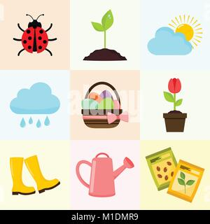Spring Season Object Drawing Vector Illustration Graphic Design Set - Stock Photo