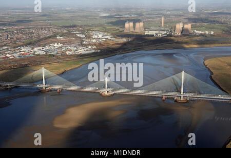 aerial view of the new Runcorn Mersey Gateway Bridge, Chehsire, UK - Stock Photo