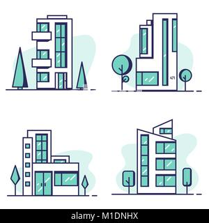 Houses set line vector - Stock Photo