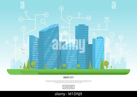 Modern city with skyscrapers - Stock Photo