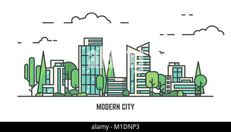 City with park - Stock Photo