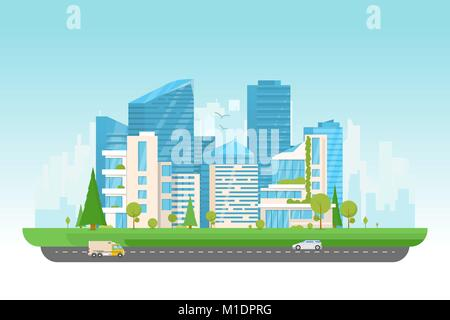 Modern city with cars - Stock Photo