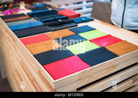 Colorful passport leather cases for sale - Stock Photo