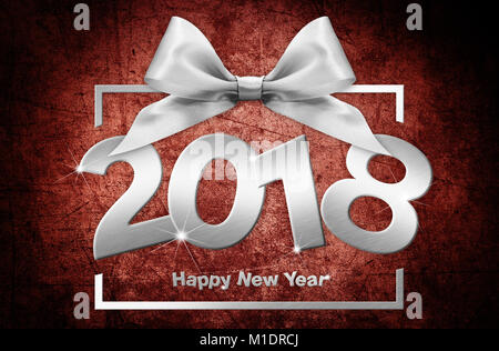 2018 Happy New Year text  for your flyers and greetings Card. Ideal to use for parties invitation, dinner invitation, - Stock Photo
