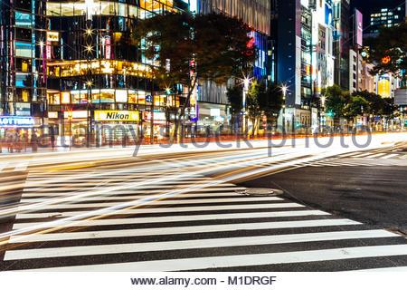 Longtime Exposure in Tokyo - Stock Photo