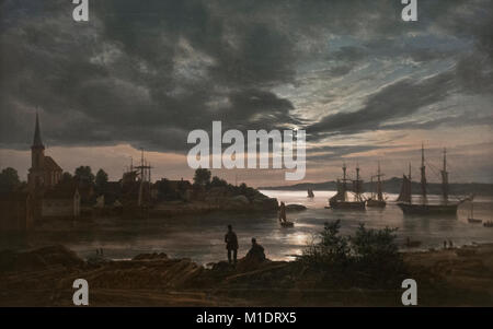 Johan Christian Dahl: Larvik by Moonlight (1839) - Stock Photo